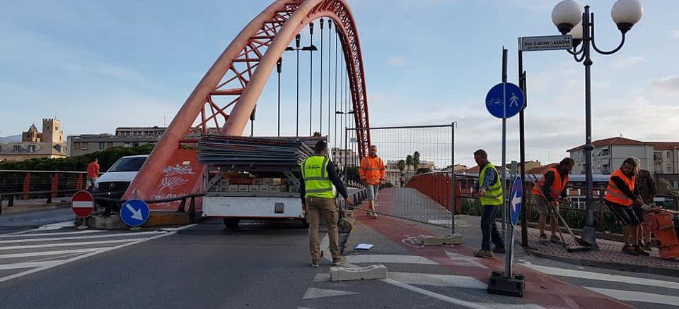 Lavori al Ponte rosso di Albenga