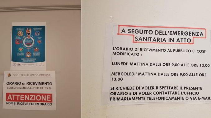 Cartelli uffici emergenza coronavirus Albenga