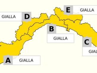 Cartina con Allerta gialla su tutta la Liguria