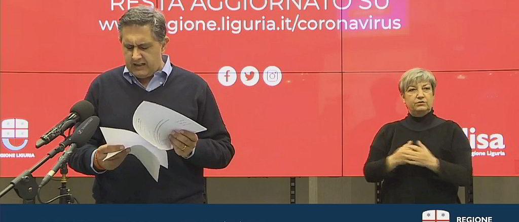 Giovanni Toti punto coronavirus Regione Liguria