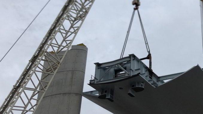Particolare lavori nuovo ponte di Genova