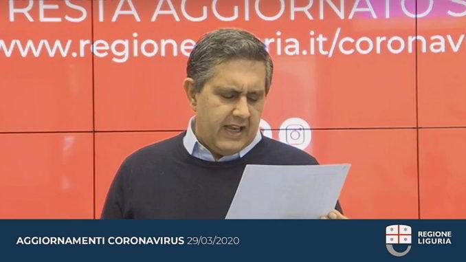 Toti Aggiornamento Regione Liguria coronavirus 29-3-2020