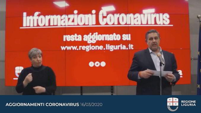 Toti aggiorna coronavirus Liguria 16-3-2020