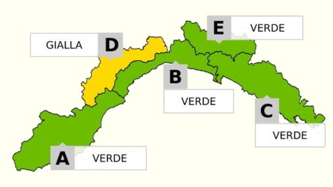cartina Liguria allerta gialla in D