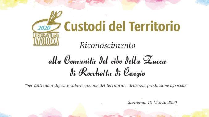 Targa Custodi del Territorio 2020 alla Comunità Zucca di Rocchetta di Cengio