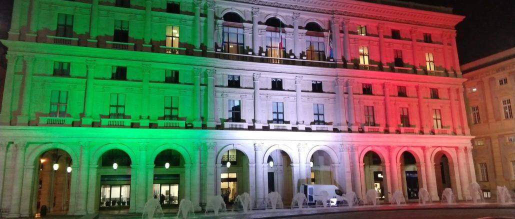 Palazzo delle Regione Liguria in tricolore