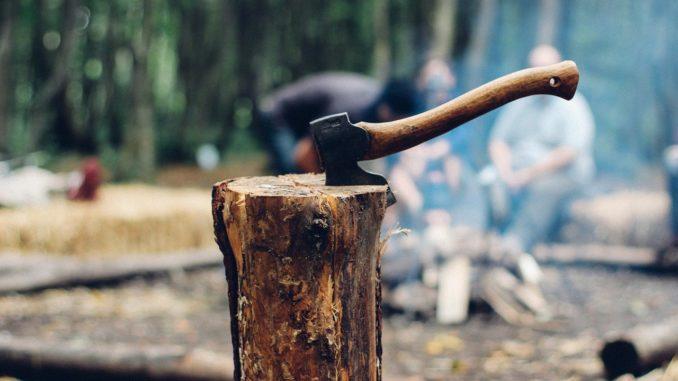 Ascia sul cippo di legno