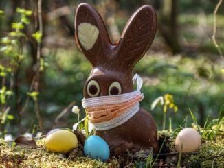 Coniglio pasquale mascherina