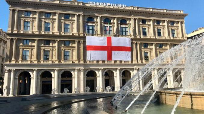Genova piazza De Ferrari - vessillo di San Giorgio