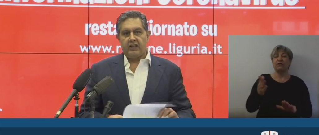 Giovanni Toti Aggiornamento Coronavirus Regione Liguria 19-4-2020