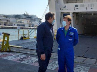 Sopralluogo Toti a Nave ospedale Genova