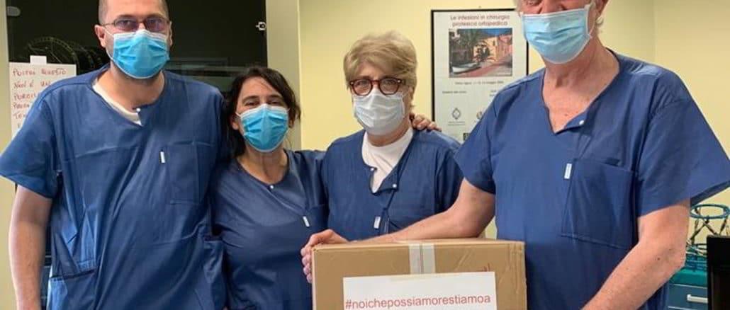 Consegna mascherine ospedale da parte Albenga Runners
