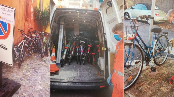 Biciclette rimosse ad Albenga