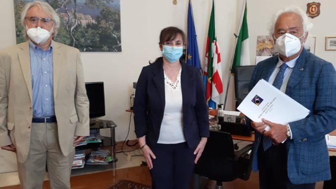 Regione Liguria, Incontro Fondazione banca degli occhi Lions - assessore Viale, Renzo Bichi e Franco Maria Zunino