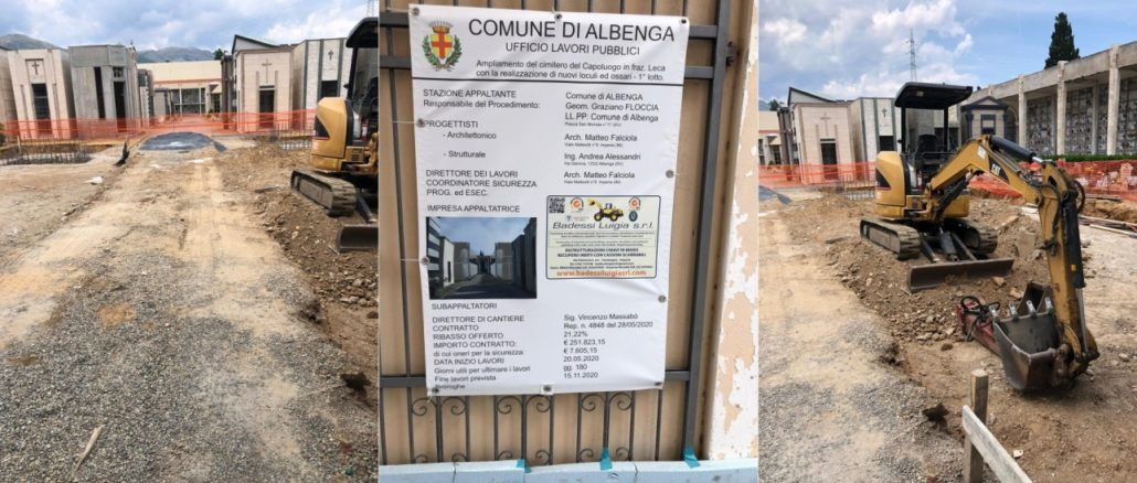 Albenga - lavori di ampliamento cimitero di Leca