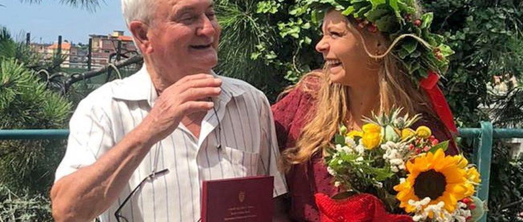 Varazze - Veronica Mordeglia con il nonno Bacicin