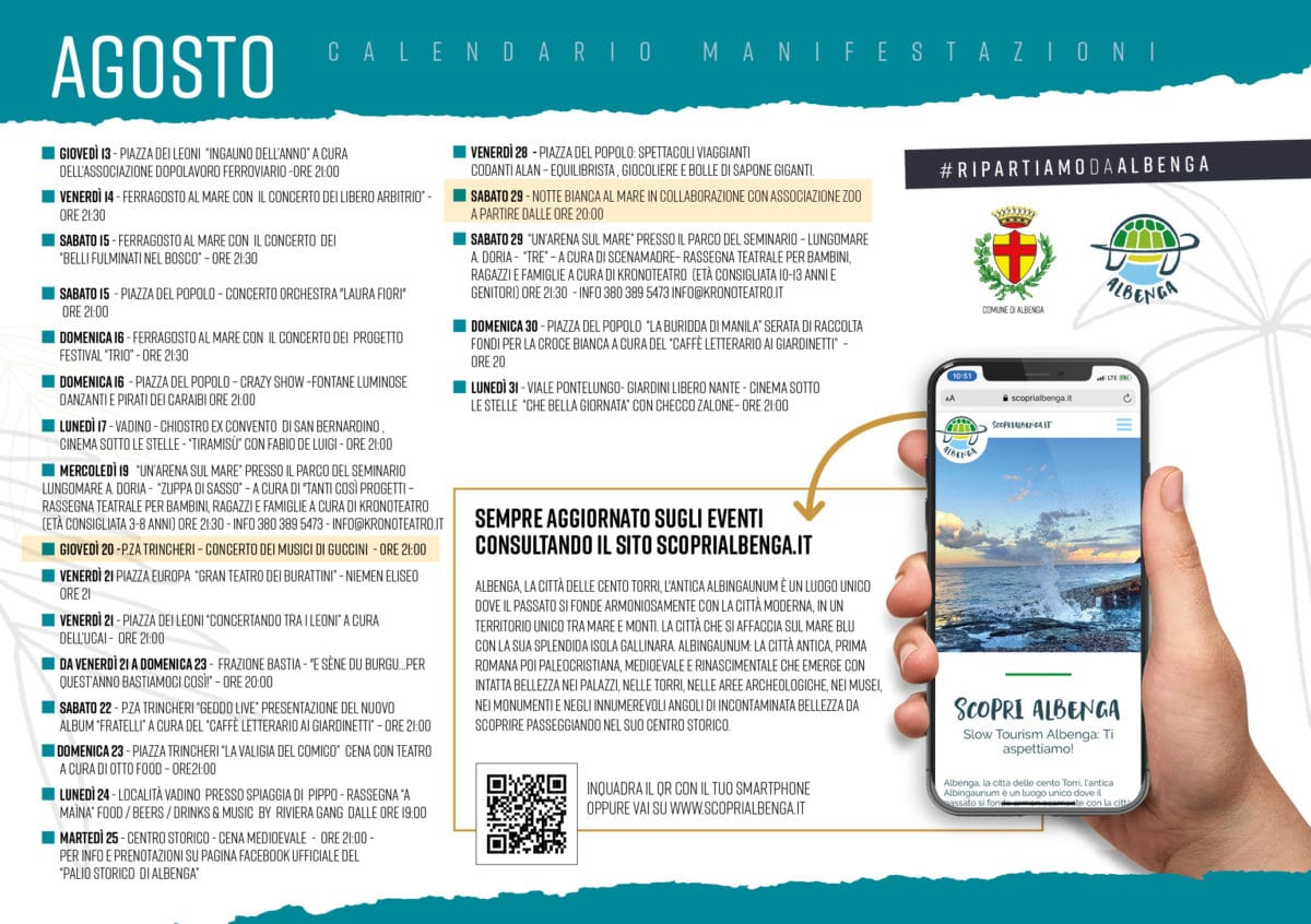 Albenga programma estate 2020