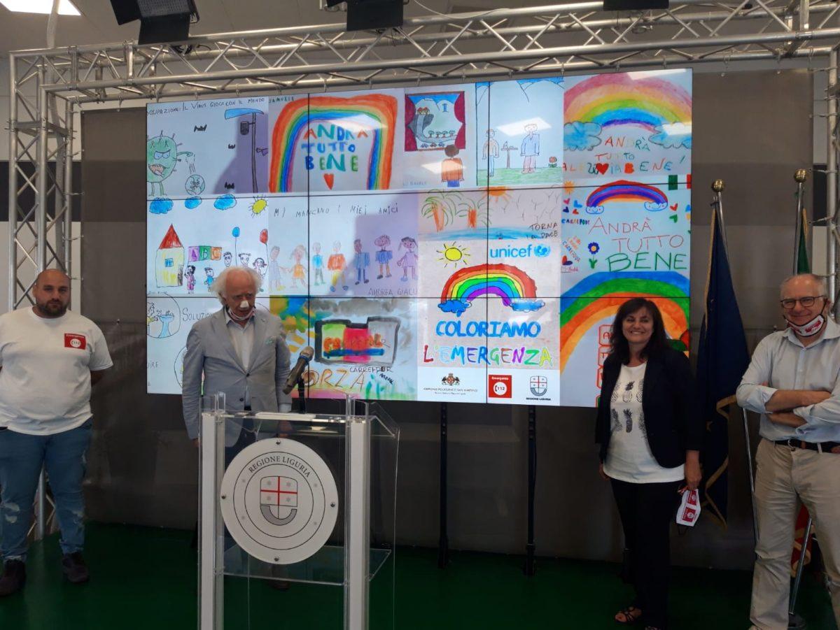 In Regione Liguria presentazione disegni bambini durante coronavirus