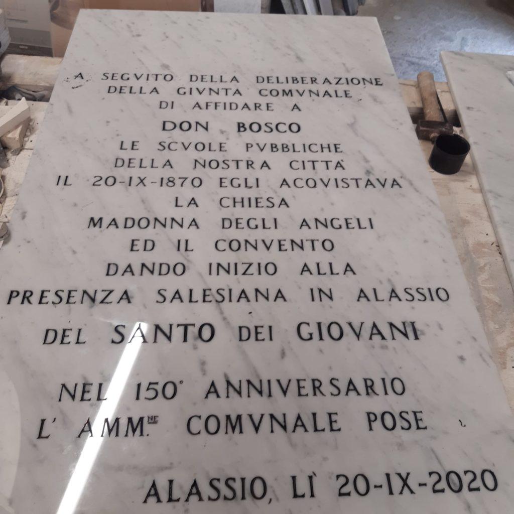 Salesiani Alassio - Istituto son Bosco - Targa Commemorativa
