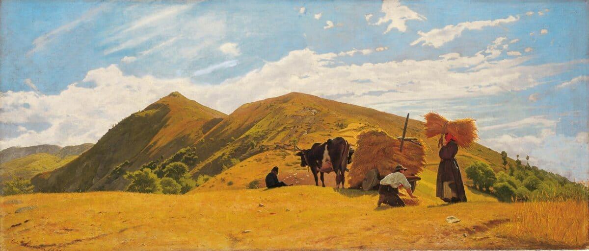 ODOARDO BORRANI Mietitura a San Marcello. La raccolta del grano sull'Appennino | 1861 | Olio su tela