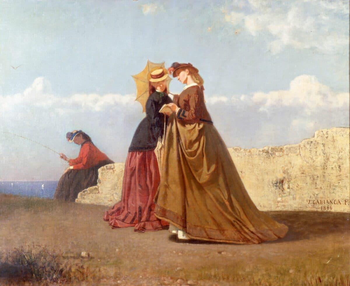VITTORIO CABIANCA  Al sole | 1866 | Olio su tela, cm. 75X90 | Collezione privata, Bologna