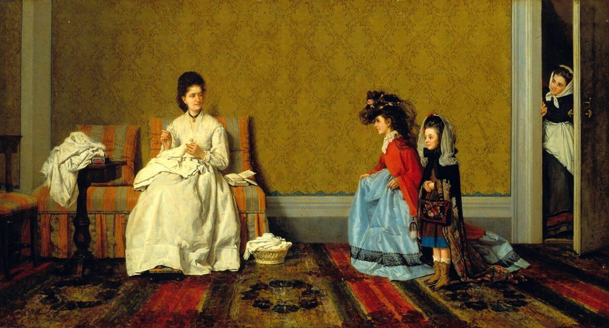 SILVESTRO LEGA Le bambine che fanno le signore | 1872 | Olio su tela, cm. 60X100 | Istituto Matteucci, Viareggio