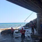 Albenga Protezione civile in azione alla foce 11