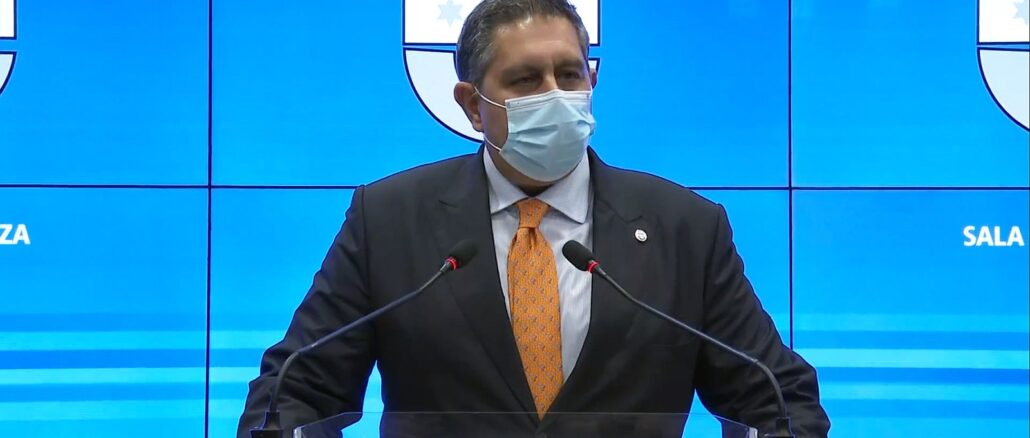 Presidente Regione Liguria Giovanni Toti in Sala Trasparenza