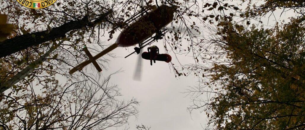 Soccorso Alpino ed elicottero Grifo a Calizzano