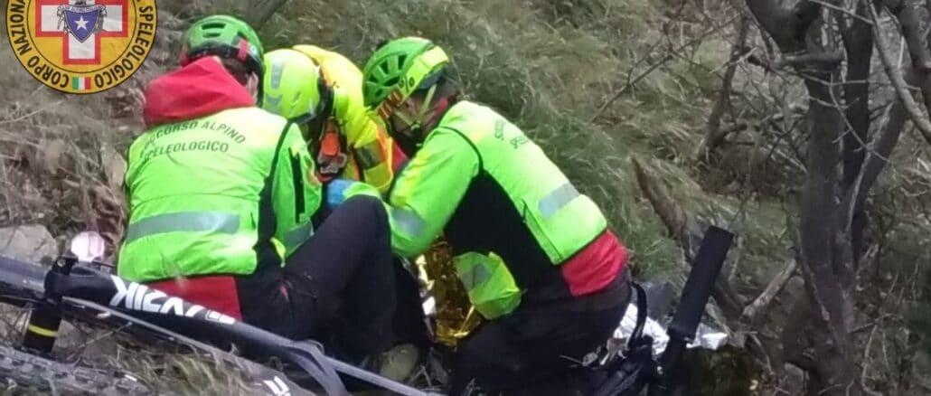 Soccorso biker ferito sulle alture di Noli