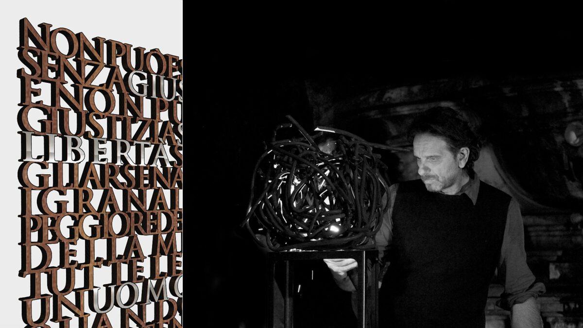 Gianni Lucchesi e particolare scultura per Pertini a Savona