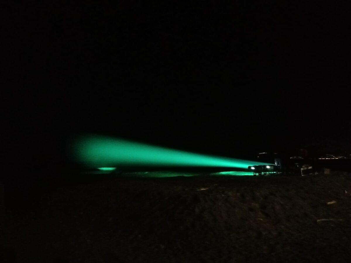 Illuminazione isola gallinara prova faro verde