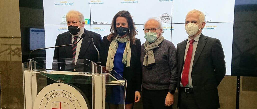 Da sinistra Felice Negri, Ilaria Cavo, imprenditore artigiano Giuseppe Graci e Luca Costi