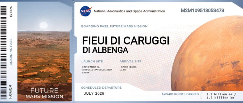 Fieui di caruggi di Albenga biglietto per Marte