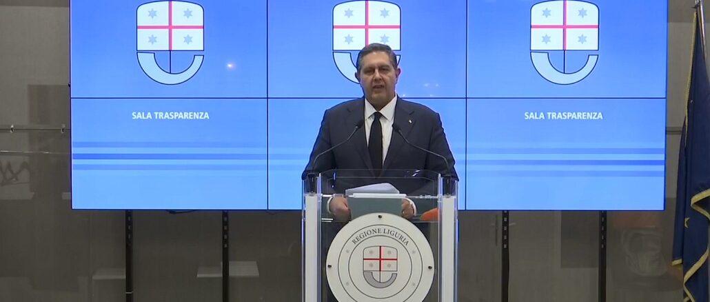 Giovanni Toti in Sala Trasparenza di Regione Liguria 2021
