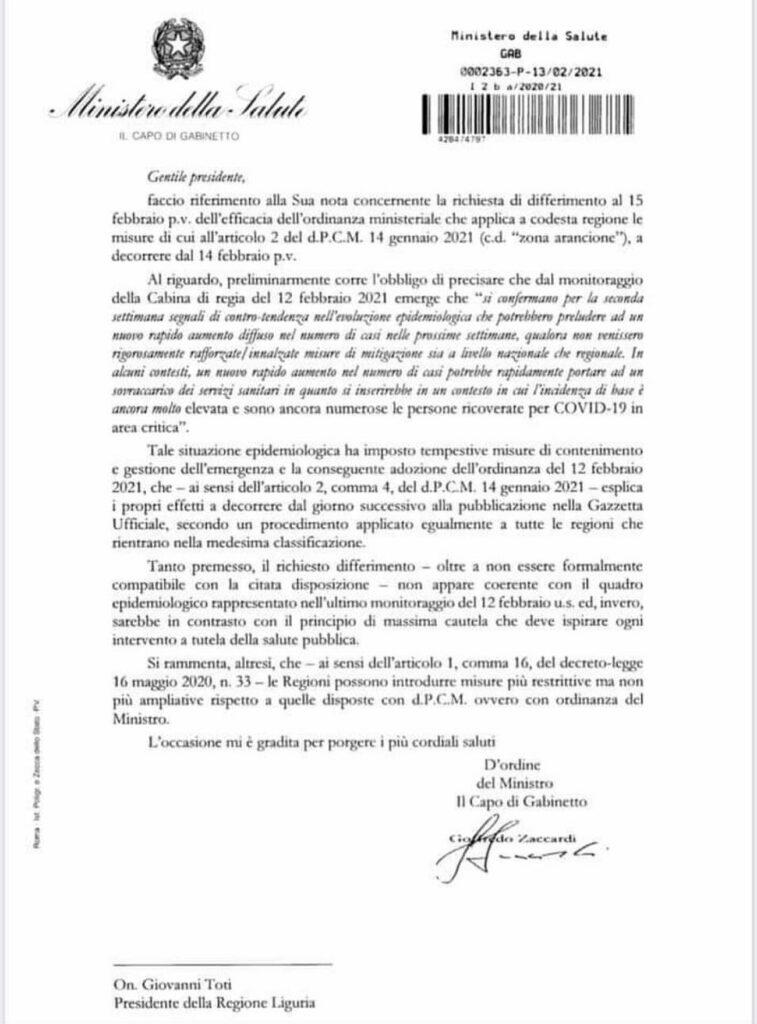 Respinta da Ministero Richiesta Toti - Regione Liguria
