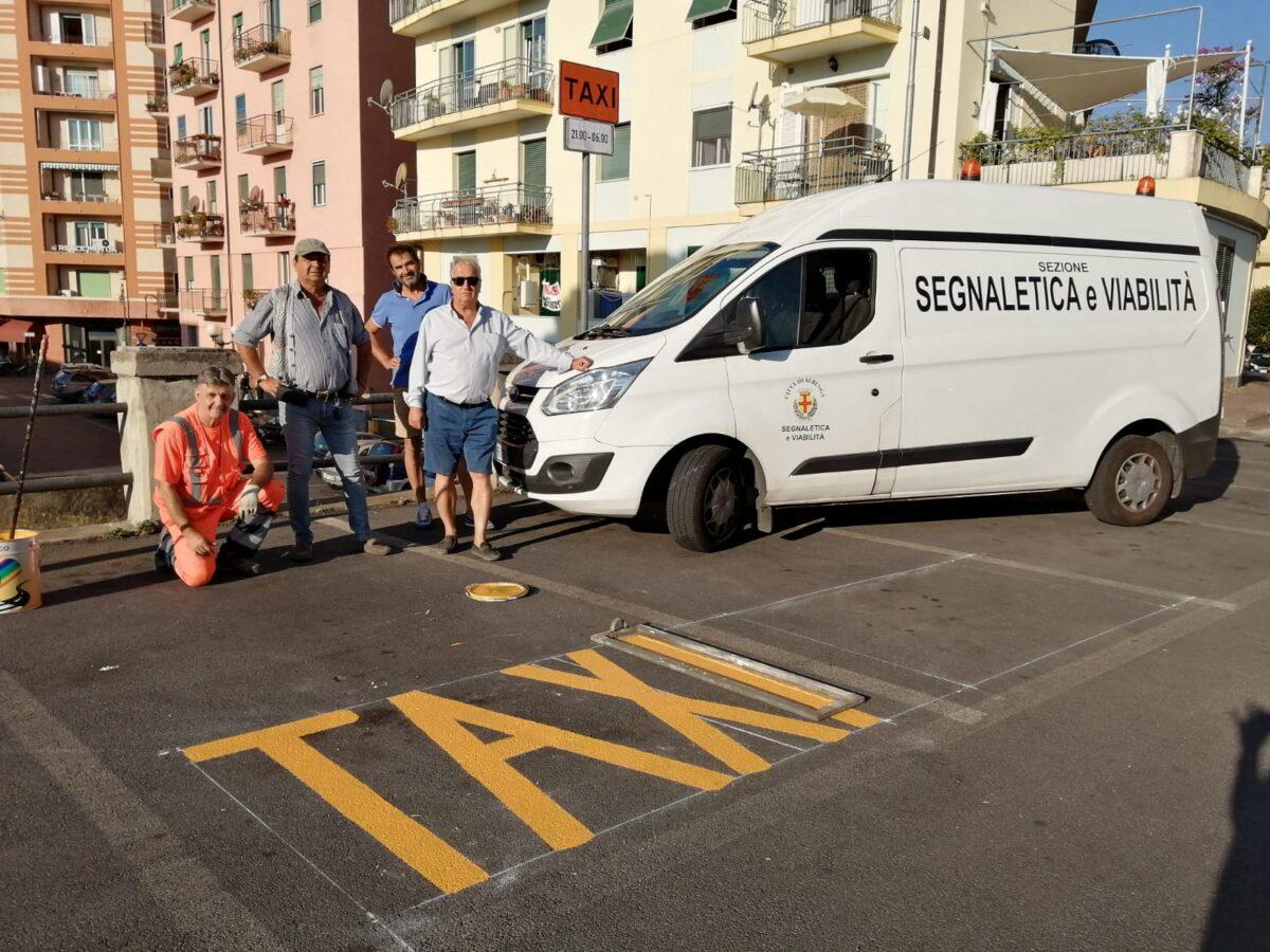 segnaletica orizzontale stalli taxi Vannucci